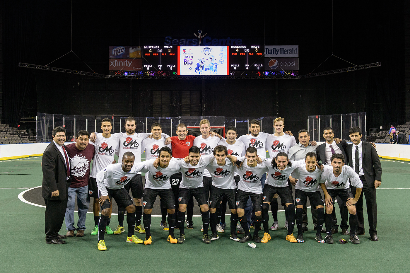Hoffman Estates, IL, USA, October 31, 2015:  Major Arena Soccer League action between the Milwaukee Wake and the Chicago Mustangs at the Sears Centre. Photographer: Daniel Bartel