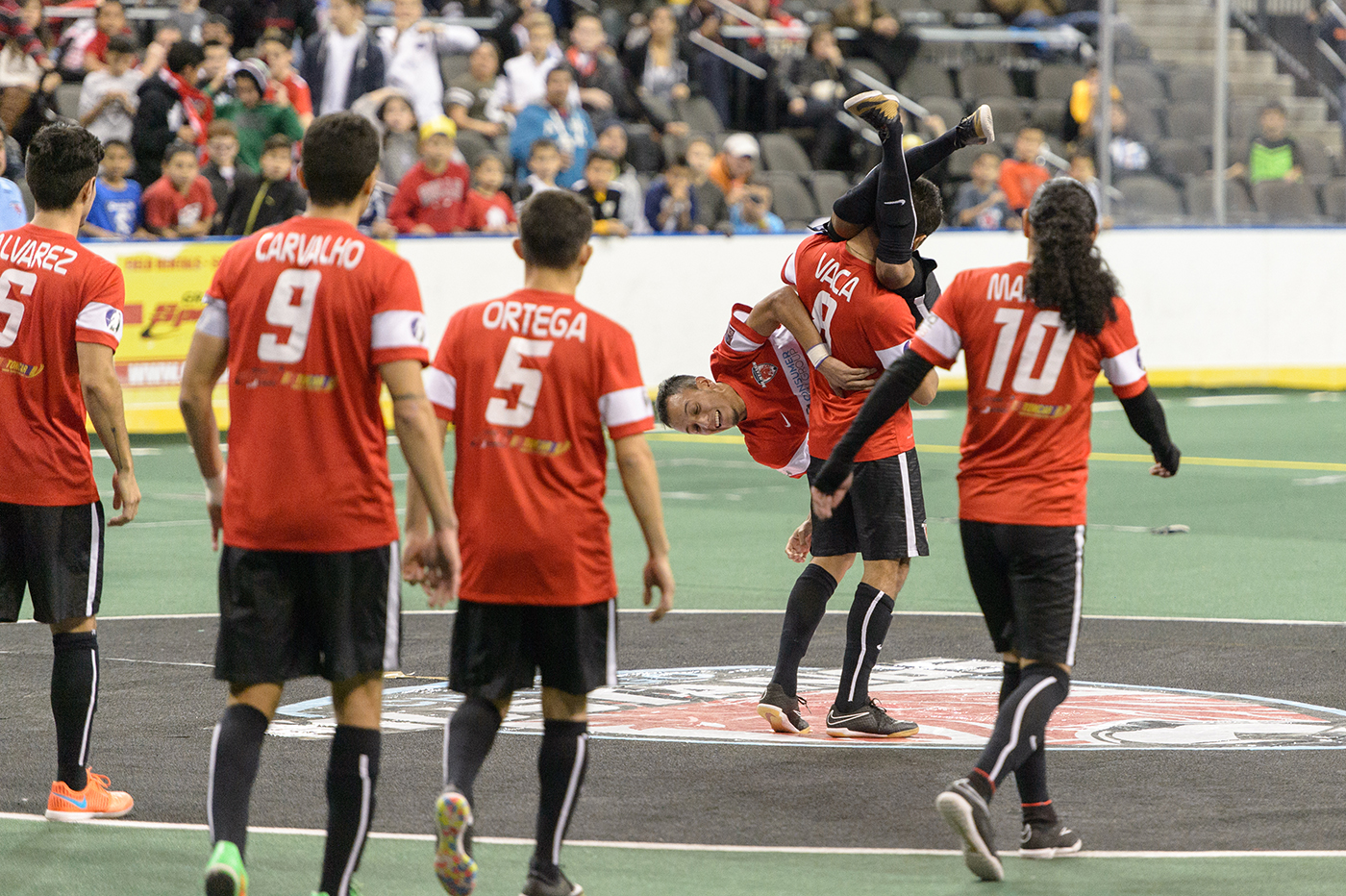 Hoffman Estates, IL, USA, December 19, 2015:  Major Arena Soccer League action between the Waza Flo and the Chicago Mustangs at the Sears Centre Arena. Photographer: Daniel Bartel