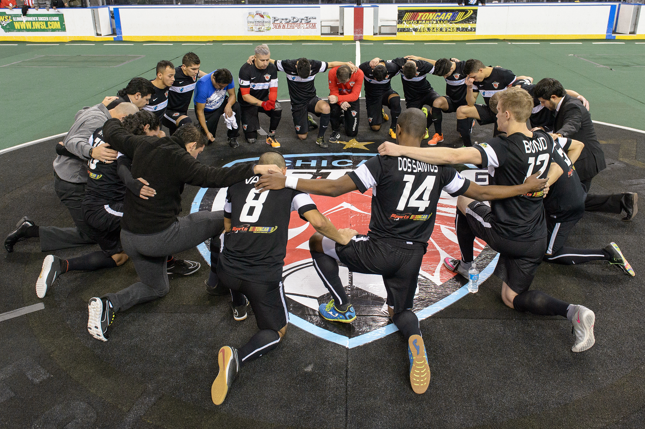 Hoffman Estates, IL, USA, January 2, 2016:  Major Arena Soccer League action between the Cedar Rapids Rampage and the Chicago Mustangs at the Sears Centre Arena. Photographer: Daniel Bartel